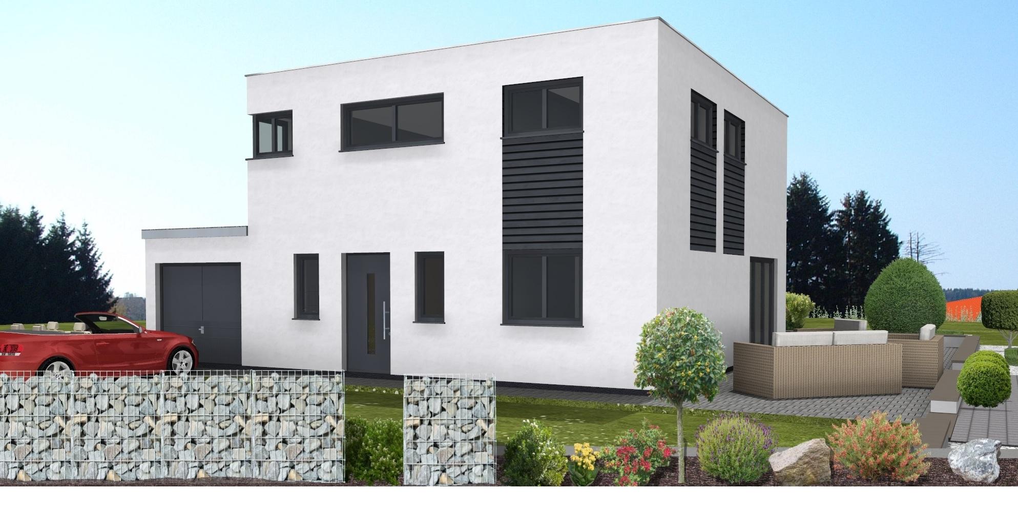 Haus Wendlingen Ansicht 1-1 Flachdach Eingang von der Strasse